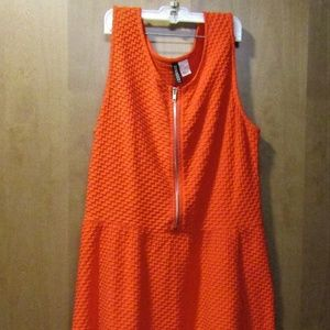 Orange Textured Above the Knee Dress